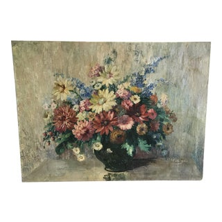 Late 19th Century Antique A. Fiebiger Flower Bouquet Oil on Canvas Painting For Sale