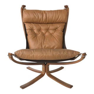 Sigurd Ressell Danish Modern Falcon Chair for Vatne Mobler in Teak and Leather For Sale