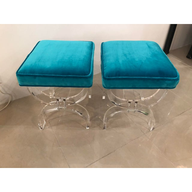 Vintage Hollywood Regency Blue Velvet Lucite X Benches Stools -A Pair For Sale - Image 10 of 13