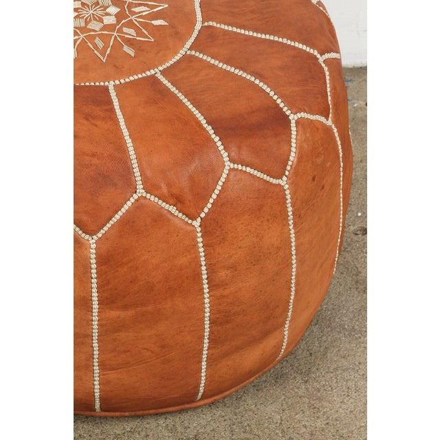 Moroccan Handcrafted Leather Camel Ottoman For Sale - Image 4 of 7