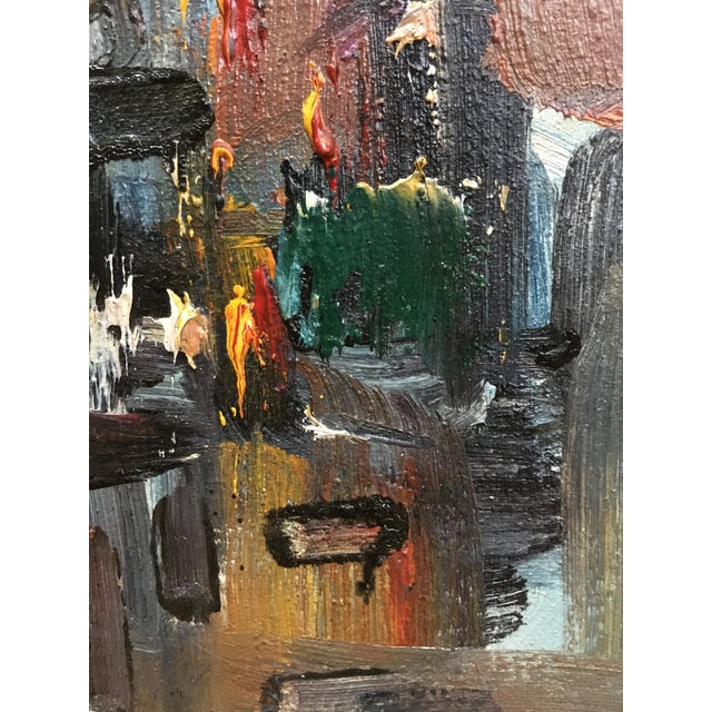 Vintage Mid Century Modern Abstract Expressionist Oil Painting For Sale - Image 9 of 11