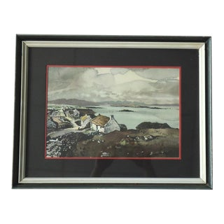 Vintage Moody Scottish Lake Country Coastal Landscape