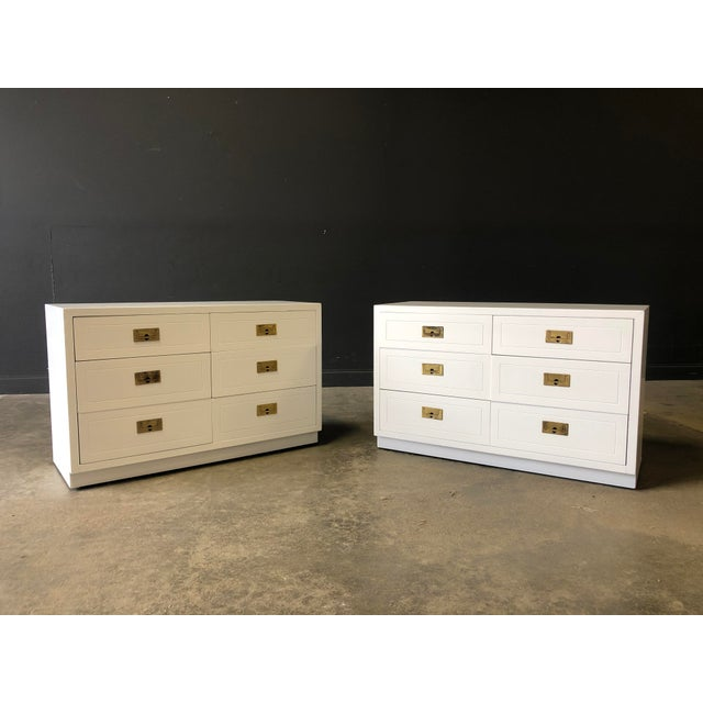 Just Lacquered GORGEOUS pair of white, 6 drawer campaign chests, original brass hardware, rosewood drawers, made by...