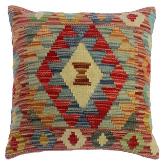 """Chasidy Pink/Gray Hand-Woven Kilim Throw Pillow(18""""x18"""") For Sale"""