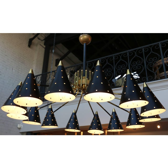 2010s Midcentury Style Brass Chandelier With Black Perforated Shades For Sale - Image 5 of 9