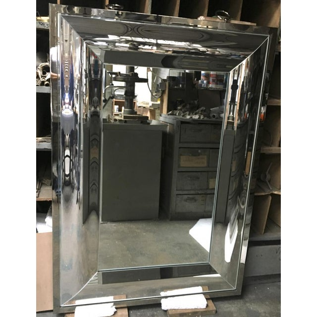 Andre Hayat Rectangular Curved Silver Mercury Frame Mirror For Sale - Image 6 of 11