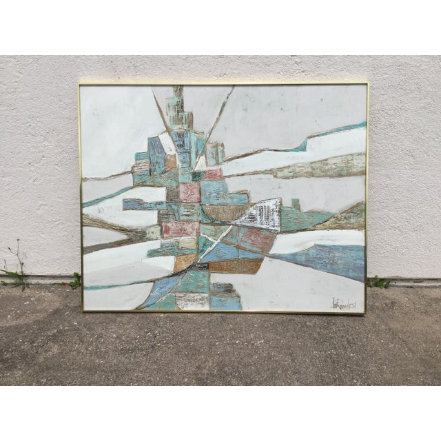 1960s Vintage Lee Reynolds Geometric Abstract Painting For Sale In Dallas - Image 6 of 7