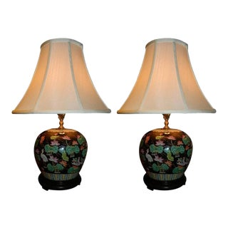 Ginger Jar Lamps in Black, Pink and White Colors, 20th Century - A Pair For Sale
