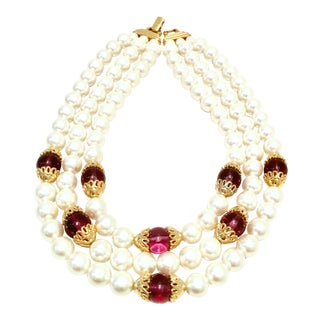 1990's Napier Gold & Faux Pearl, Glass Bead Triple Strand Necklace For Sale
