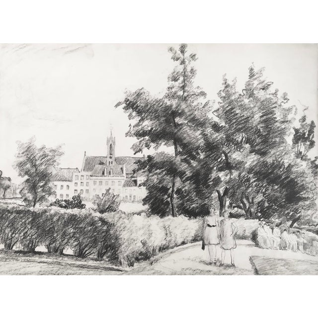 English Traditional 1930s Antique English Pencil Drawing For Sale - Image 3 of 5