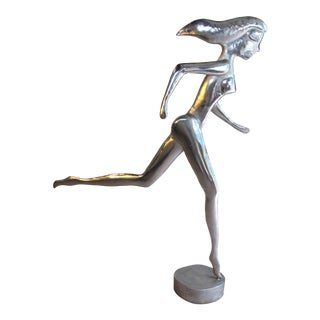 Vintage Life Sized Aluminum Sculpture of Nude Runner by Suzanne Pascal For Sale