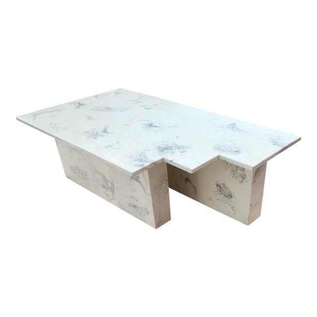 Vintage Postmodern Geometric Shaped Marble Coffee Table For Sale