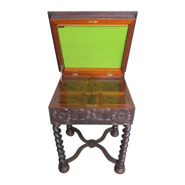 19th Century Heavily Carved Swedish Sewing Table - Image 1 of 8