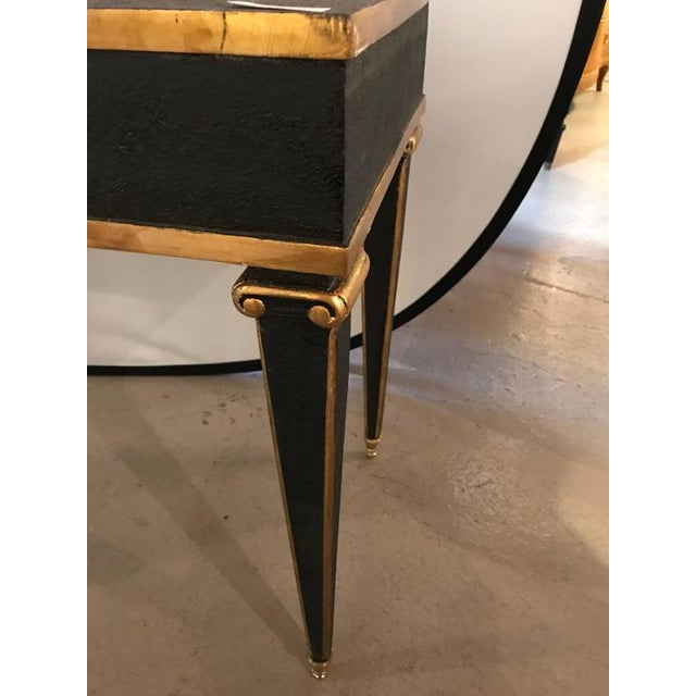 Maison Jansen Maison Jansen Style End Table in Leather Top and Bronze-Mounted Legs - A Pair For Sale - Image 4 of 11