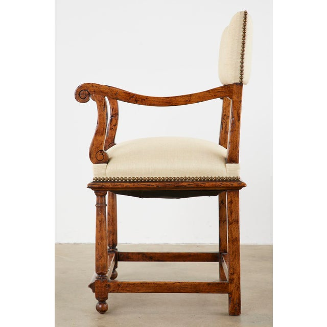 English Gothic Revival Wainscot Style Carved Hall Chair For Sale - Image 4 of 13