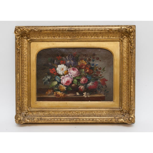 19th Century Floral Still Life Oil Painting Set in Ornate Gold Frame For Sale - Image 9 of 9