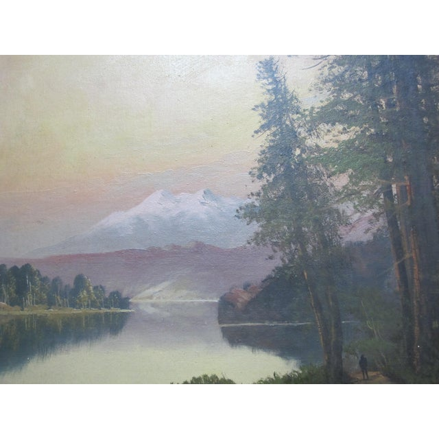 American John J Englehart J Hart Sunset on Lake Tahoe California Antique Landscape Painting For Sale - Image 3 of 8