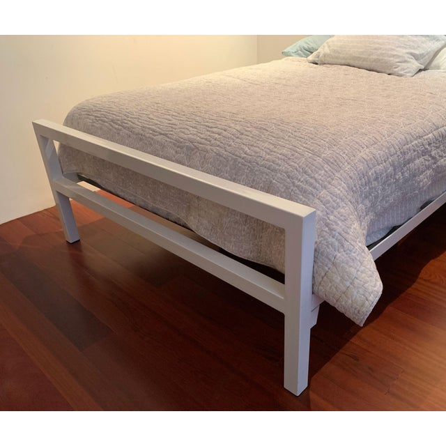Contemporary Contemporary White Parsons Full Sized Bedframe For Sale - Image 3 of 8