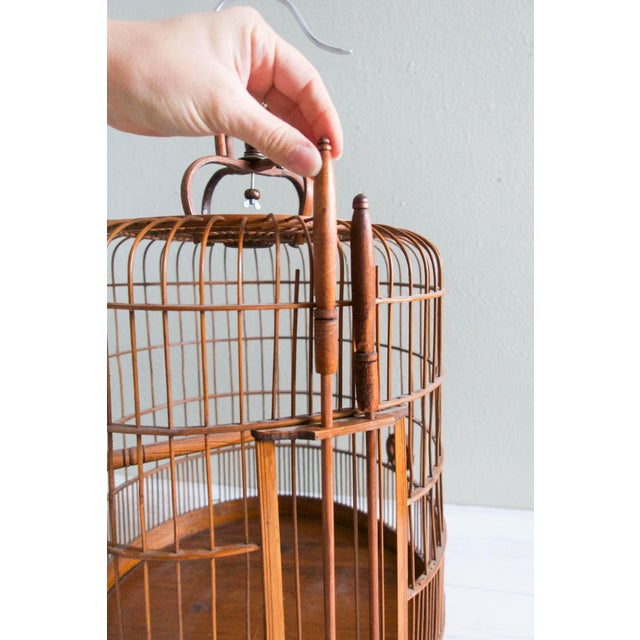 Vintage Chinese Bamboo Bird Cage - Image 5 of 6