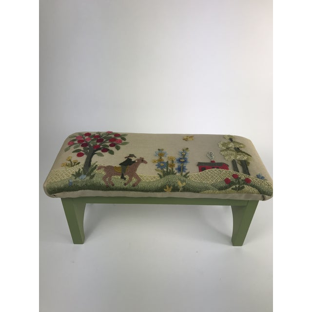 1970s Vintage Handmade Embroidered Foot Stool For Sale - Image 13 of 13