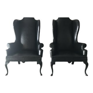 Vintage Mid Century Black Faux Leather Chairs- A Pair For Sale