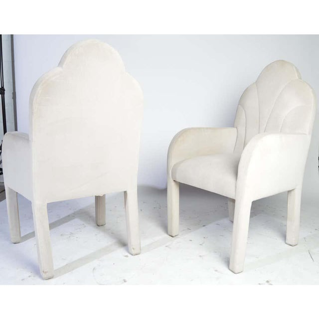 A fabulous set of 6 Art Deco Revival dining chairs by Lenwood Furniture Co. Inc. of N.C. having soft velvet upholstery...