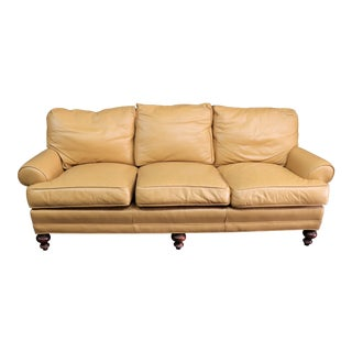 Old Hickory Tannery Cognac Leather Sofa For Sale