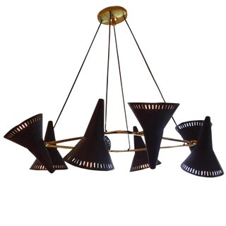 C.G.M.E. Eight-Light Mid Century Chandelier Italy circa 1960 For Sale