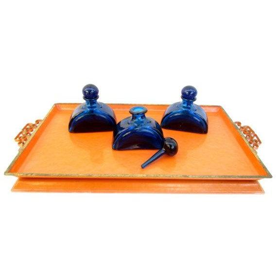Mid-Century Orange Enamel Moiré Glaze Kyes Tray - Image 5 of 5