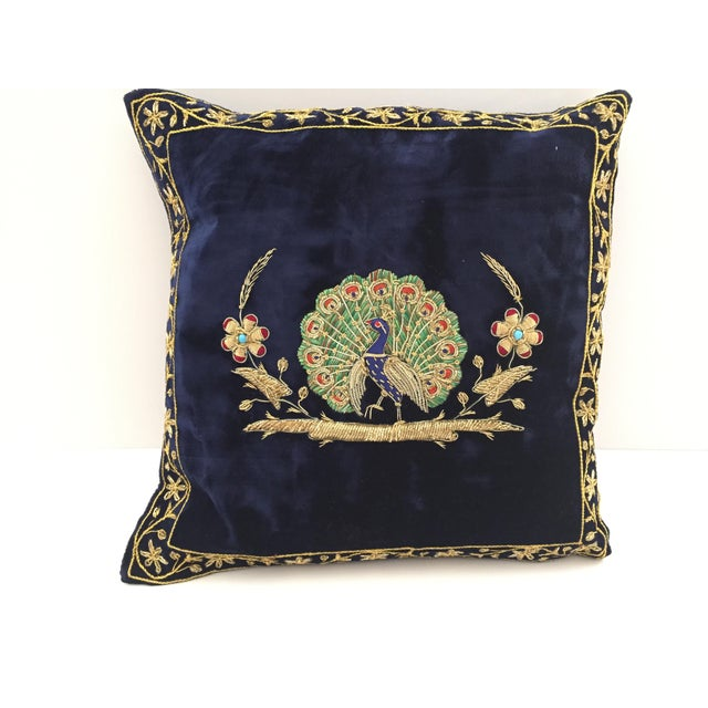 Gold Mid Century Velvet Blue Silk Pillow Embroidered With Gold Peacock For Sale - Image 7 of 11