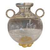 Image of Vintage Large Murano Glass 3 Handle Vase For Sale