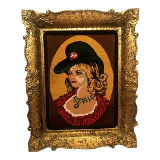 1930s Vintage Pin Up Cowgirl Self Portrait Needlepoint Textile Art For Sale