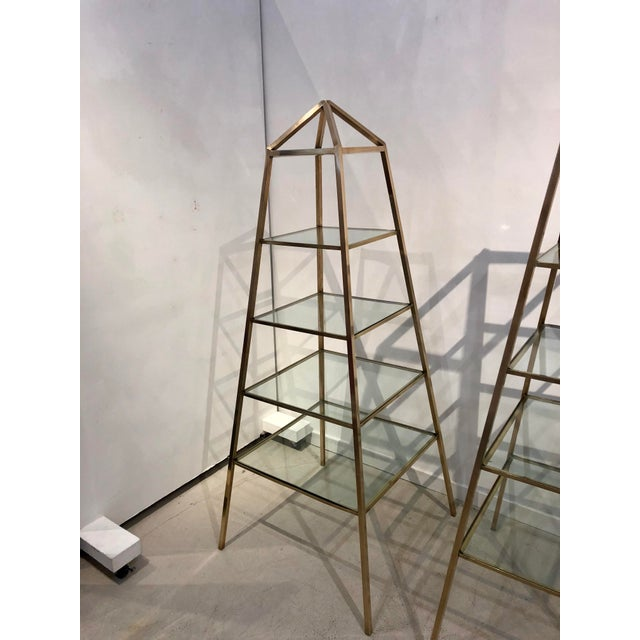 1960s Brass Italian Obelisk Shaped Etageres - a Pair For Sale - Image 9 of 12