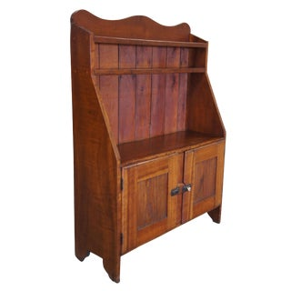 1880s Early American Antique Maple Stepback Cupboard Cabinet Bookcase For Sale