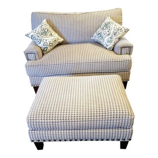 Houndstooth Chair & 1/2 Including Ottoman and Two Throw Pillows For Sale