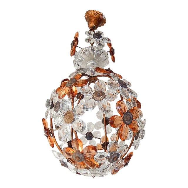 Clear and Peach Crystal Flowers Maison Baguès Style Chandelier For Sale