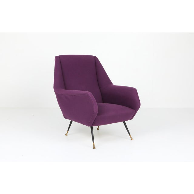 Ico Parisi 1950s Ico Parisi Easy Chairs With Purple Upholstery - a Pair For Sale - Image 4 of 12