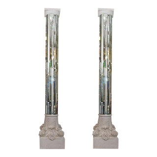 Monumental Size Modern Neoclassical Mirrored White Columns - a Pair For Sale