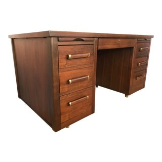 1960s Modern Walnut Executive Desk For Sale