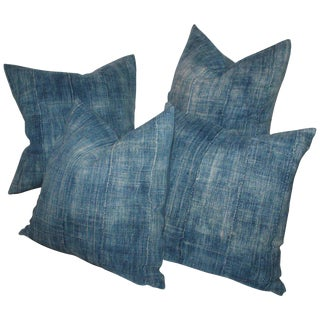 19th Century Blue Homespun Linen Pillows - a Pair For Sale