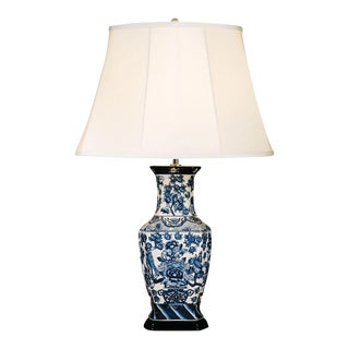 English Traditional Style Blue Hexagon Table Lamp