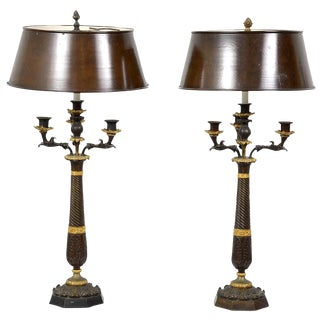 Pair of French Directoire Gilt and patinated Bronze Lamps