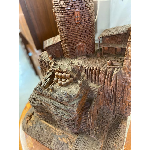 Early 20th Century Lighthouse + Village Wood Carved Sculpture For Sale - Image 5 of 13