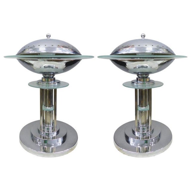 Mid-Century American Art Deco Style Chrome Lamps, Pair For Sale - Image 9 of 9