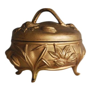 1900s Gold Art Nouveau Jewelry Box For Sale