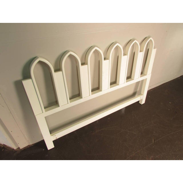 Gothic 1965 Harvey Probber Full or Queen-Size White Gothic Arch Headboard For Sale - Image 3 of 5