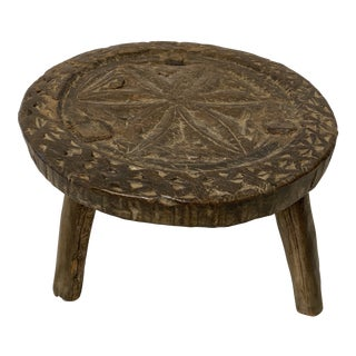 Carved European Stool For Sale