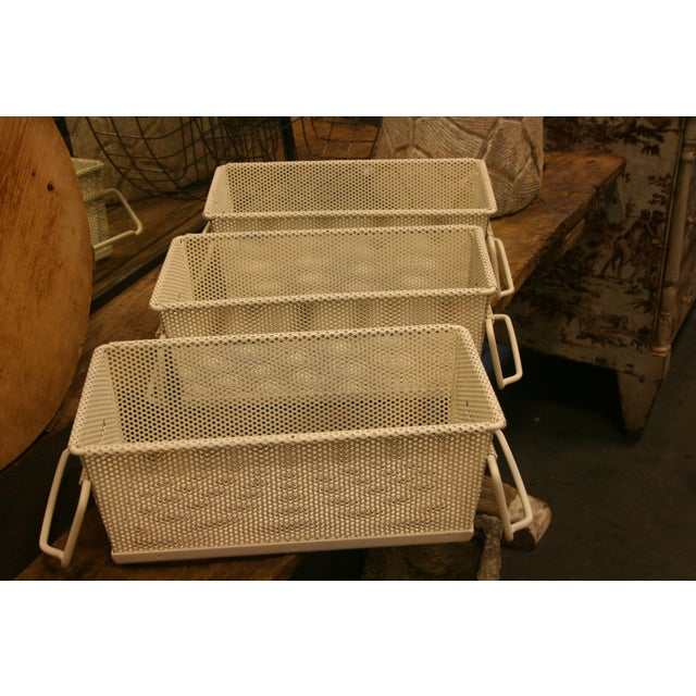 Vintage French Industrial Metal Basket With Handles For Sale - Image 10 of 11