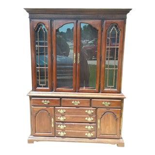 1970s Vintage Bernhardt China Cabinet & Hutch For Sale