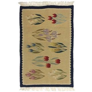 Romanian Floral Garden Kilim   1'8 X 2'8 For Sale
